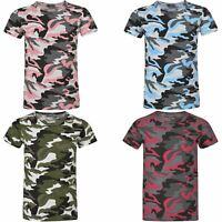 Kids Weave Camo Pattern Boys Short Sleeve T-shirt Girls Linen Military Top 3-14Y