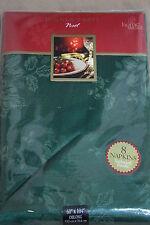"HOMEWEAR LINENS DINNER PARTY NOEL Green Oblong Table Cover 60"" x 104"" 8 Napkins"
