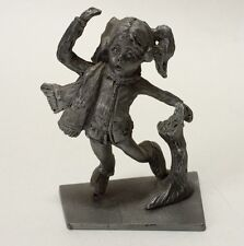 Vintage Pewter Child Girl Ice Skating Figurine Learning To Skate About To Fall