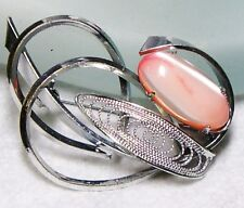 Vintage Silvertone Scrolly Pink  Mother of Pearl Brooch
