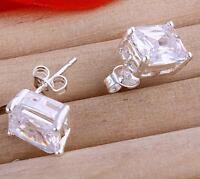 Brand New 925 Sterling Silver Filled 8mm Cubic Zirconia Stud Earrings