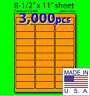 O330R, 3,000 Orange Fluorescent Address Labels, 2-5/8x1