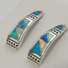 Sterling Silver Handmade Inlay Opal Stone Half Hoop Post Earrings
