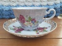 VTG Princess China Occupied Japan Tea Cup and  Open Lace Saucr Lusterware