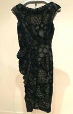 J. MENDEL Black Cut Out Velvet Over Sheer Silk Sleveless Sheat Dress size 8