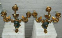 Majestical pair French bronze swan empire animal 3 arm wall sconces lights rare
