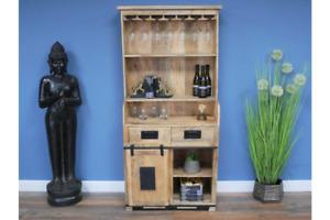 Industrial Style Wooden Wine Display Cabinet Sliding Door Metal Handle 8156