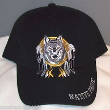 Native Pride WOLF Embroidered Black Cotton Ball Cap Hat