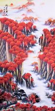 ORIGINAL ASIAN FINE ART CHINESE SANSUI WATERCOLOR PAINTING-Red Mountains view