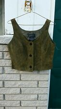 Suede Vest sz.4 Cropped Biker Western Ranch Finity Studio Olive button front New