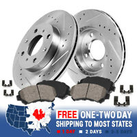 FRONT DRILLED AND SLOTTED BRAKE ROTORS & CERAMIC PADS For Nissan 200SX Sentra