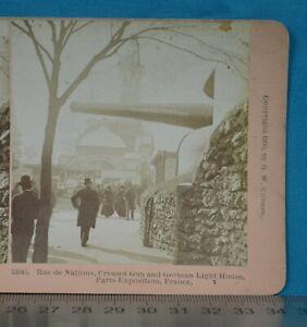 c1900 Stereoview Photo France Paris Exposition Creusot Gun Rue De Nation Kilburn