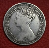 1879 GOTHIC FLORIN RARE 39 ARCS 38 TREFOIL ESC 2895 VICTORIA BRITISH SILVER COIN