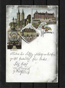 Ak Litho Greeting From Naumburg - Kaserne Cathedral Town Hall 1899