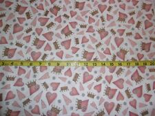 All For Love Cotton Fabric Crowns Hearts Toss Fabric BHTY Santoro Gorjuss
