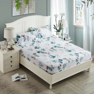 3Pieces Floral Queen King Size Breathable Fitted Sheet Cotton Pillowcases AU