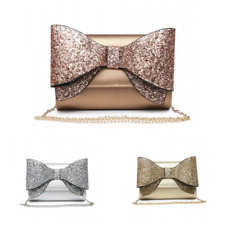 Womens Large Bow Women's Glitter Evening Wedding Party Prom Clutch Bag Metallic