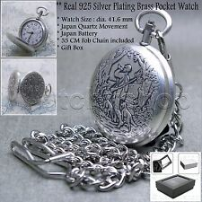 Hunter Pocket Watch 10 Micron Real Silver Plated 41 MM Brass Case Chain + Box 97