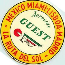 Mexico-Miami-Lisboa-Madrid ~AEROVIAS GUEST~ Old Airline Luggage Label, c. 1955