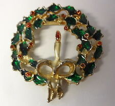 Vintage Retro 50-60s Enamel Christmas Holly Tree with Candle Wreath Pin Brooch