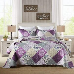 Purple Beige Floral Patchwork 3pc Quilt Coverlet Set Full Queen King Bed Country