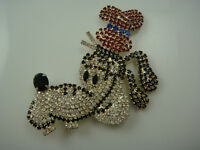 "VINTAGE GOOFY HEAD PAVE RHINESTONE HUGE 3 3/8""  PRONG SET SILVER TONE PIN BROOCH"