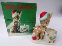 Vintage Christmas Reindeer Bisque Porcelain Candle Holder w/Candle 1978 Orig.Box