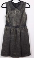 Kensie Cocktail Pleated Dress Women's Size 6 Sleeveless V-Neck Faux Leather