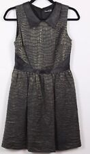 Kensie Cocktail Dress Women's Size 6 Sleeveless V-Neck Faux Leather Trim