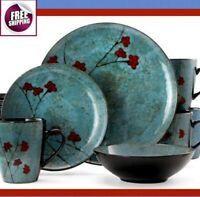 Japanese Style Set Dinnerware 16 Pc Dishes Plate Mug Vintage Modern Floral New