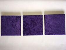 SET OF 3 MODERN HANDMADE PURPLE FABRIC WALL ART HANGINGS CRUSHED VELVET
