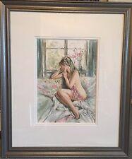"""RARA SUPERBA ORIGINALE GORDON King """"da parte della finestra BELLA BIONDA Girl Donna Pittura"""