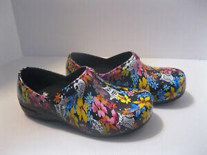 Anywear Women's Clogs Work Shoes Size 8 Owls Flowers Black Pink Blue Nurses