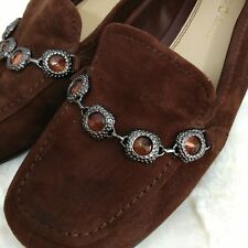 Kelly Katie Wilma Suede Flats Womens 6.5 Jewel Chain Embellished Brown Slip On
