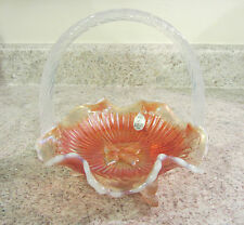 Fenton French Opalescent Marigold Glass Embossed Butterfly Basket