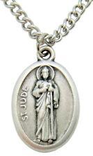 "St Saint Jude 3/4"" Medal Oxidized Silver Metal w Box & Endless Steel Chain"