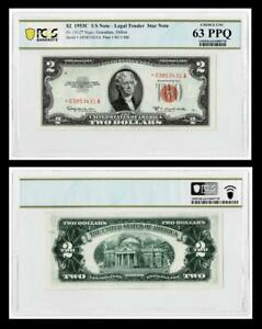 **STAR NOTE**1953-C $2 RED SEAL UNITED STATES NOTE ~PCGS UNCIRCULATED 63 PPQ