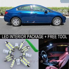 White LED Interior Package Bulb 8X Kit For 2006 2012 Honda Civic Sedan + Tool J