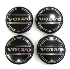 4x VOLVO BLACK ALLOY CENTRE WHEEL CAPS HUB 64 mm