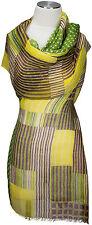Schal Leinen, Grün Punkte Streifen Foulard  scarf linen green polka dots stripes