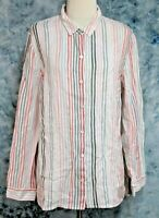 J Jill Love Linen Womens L Red Black Pink Striped Long Sleeve Button Down Top