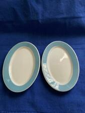 Vintage 2 Syracuse China Restaurant Small Oval Plates Light Blue Band 7