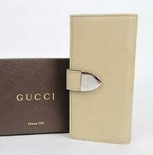 New Gucci Beige Signoria Leather Clutch Continental Wallet 231837 2609