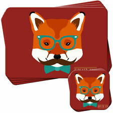 Hipster Bohemian Trendy Fox Set of 4 Placemats and Coasters