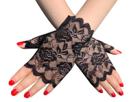 Mitaines manchettes noires en dentelle motifs fleurs sexy pinup rétro