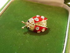 Vintage Red Enamel Ladybug Rhinestone Beetle Insect Gold Brooch Pin 4e 90