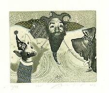 Man and Dog, Surrealistic, Limited Edition  Ex libris Etching by Juri Jakovenko