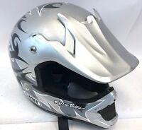 Jeremy Lee Designs Silver Gray Tribal VFX-R Motorcycle Full Face Visor Helmet