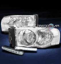 2002-2005 DODGE RAM 1500 2500 3500 CRYSTAL HEAD LIGHTS LAMP+WHITE LED DRL SIGNAL