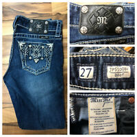 Miss Me JP55OOBV Boot Cut Jeans Womens Size 27 Embellished Blue 29x30 GUC Clean
